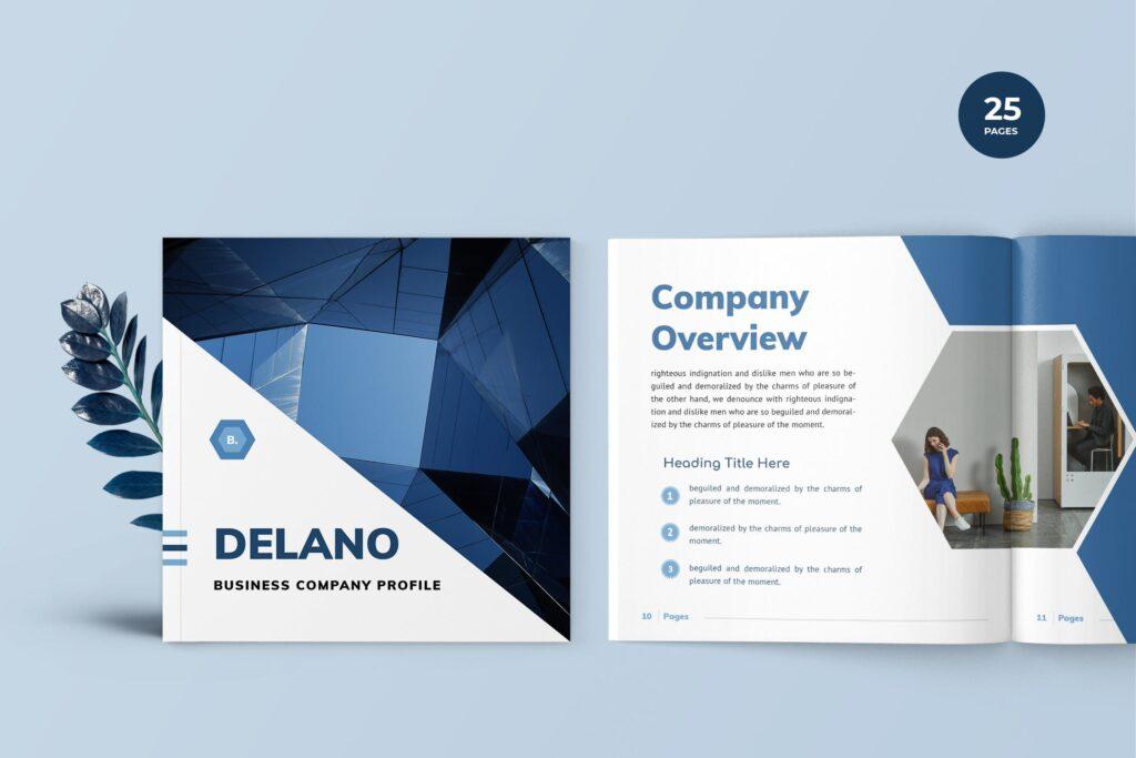 企业商务手册/内部手册杂志模版素材Delano Business Portfolio Template插图