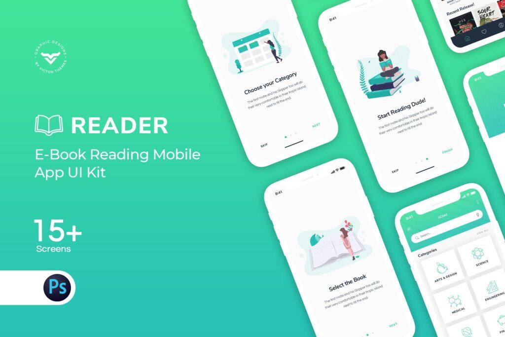房地产行业移动应用UI Kit组件模板素材E Book Mobile App UI Kit插图