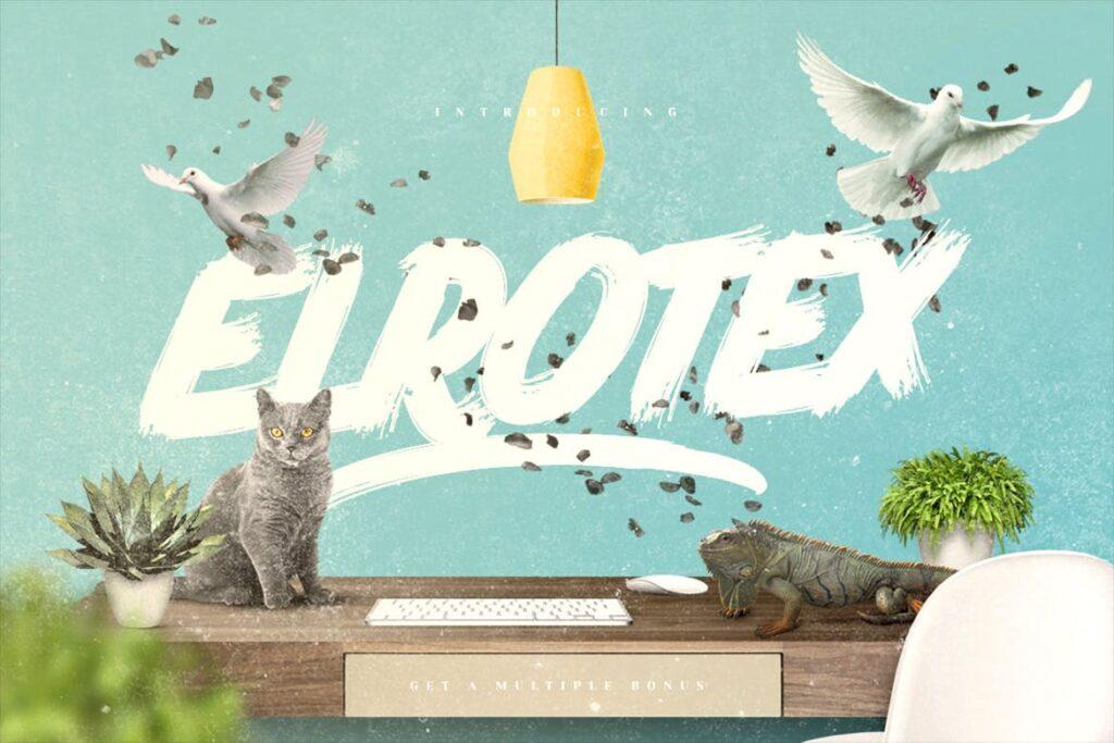网站标题毛笔笔刷字体下载Elrotex Brush Font插图