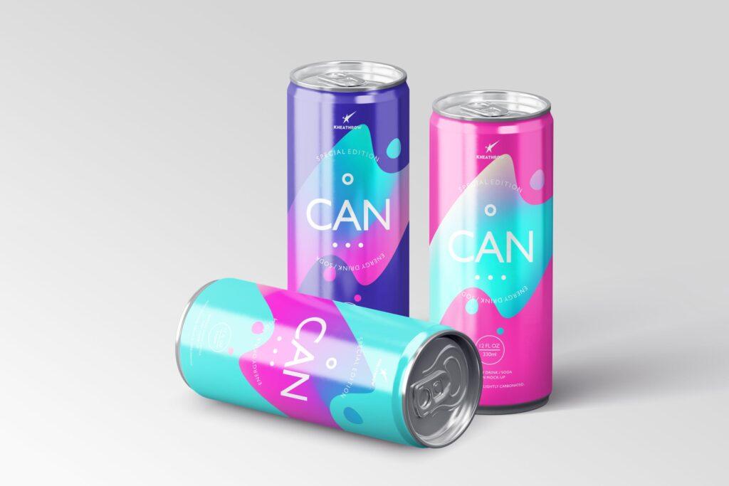简约能量/苏打饮料易拉罐包装模型样机Energy Soda Drink Can Packaging MockUps Vol1插图