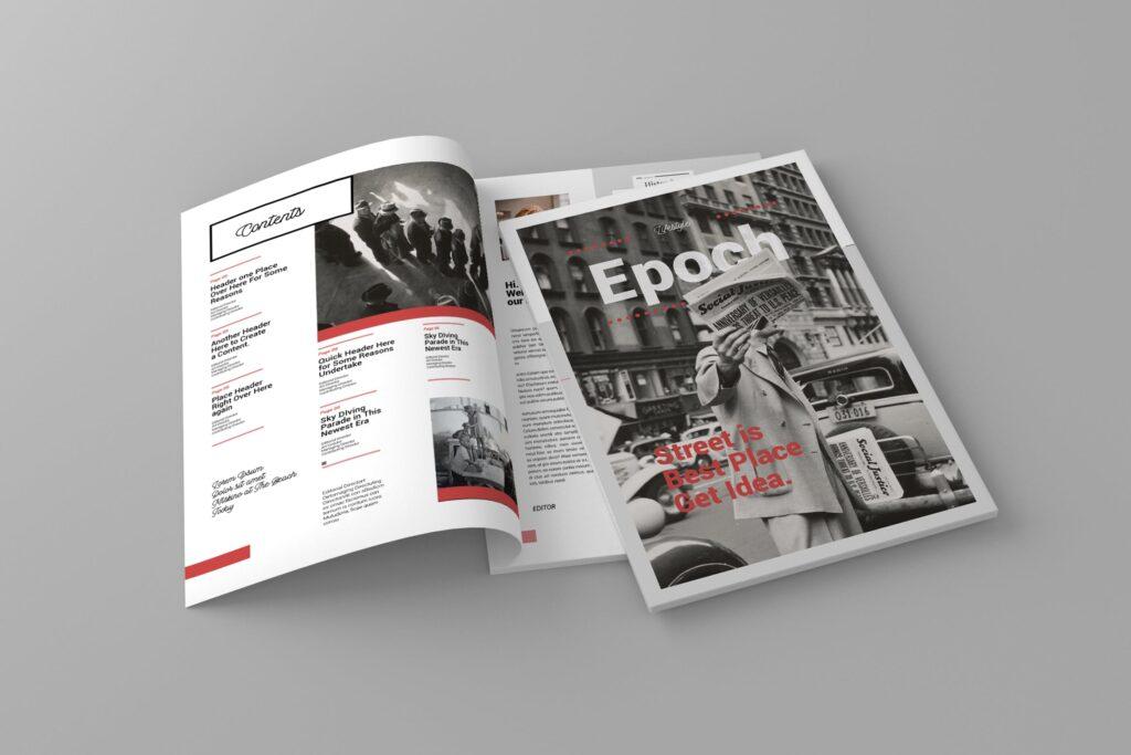 大纪元历史记录风格杂志画册模板素材Epoch Magazine Template插图