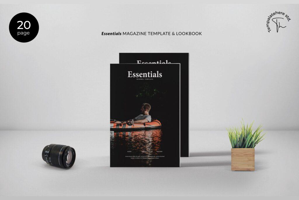 现代简约中性的杂志设计风格Essential Magazine Template插图