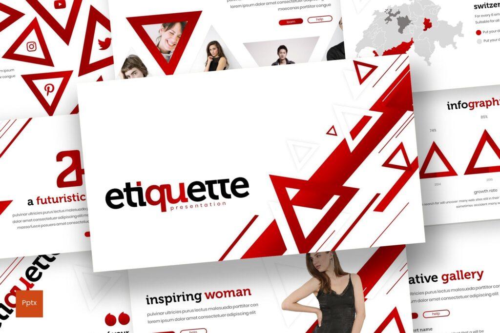几何纹理礼仪活动宣讲PPT幻灯片模板Etiquette Powerpoint Template插图