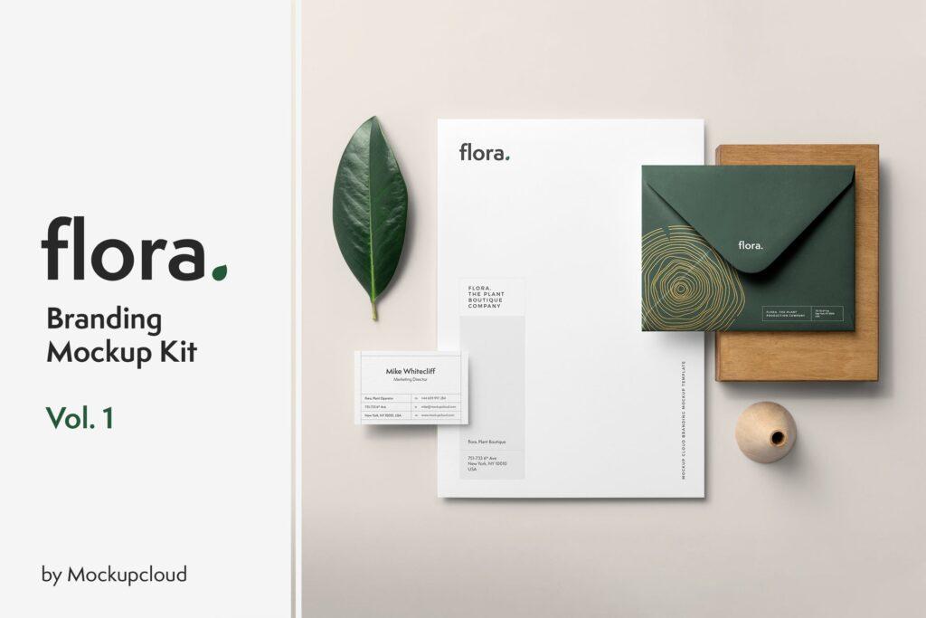 优雅的品牌VI样机模型样机下载Flora Branding Mockup Vol1插图