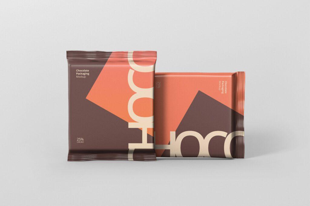 真空巧克力包装模型样机素材下载Foil Chocolate Packaging Mockup Square Size插图