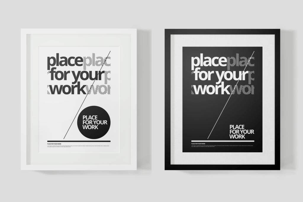黑白艺术相框模型样机素材下载Frame For Your Work Pd73r4插图