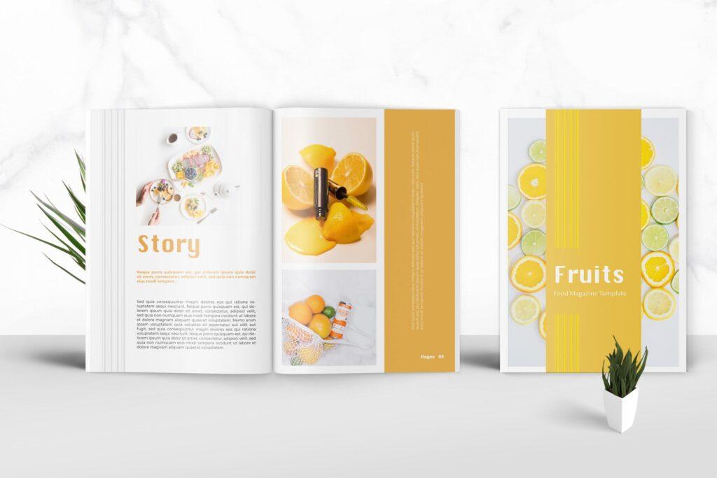 养生食品美食餐饮料理画册杂志下载Fruits Food Magazine Template插图