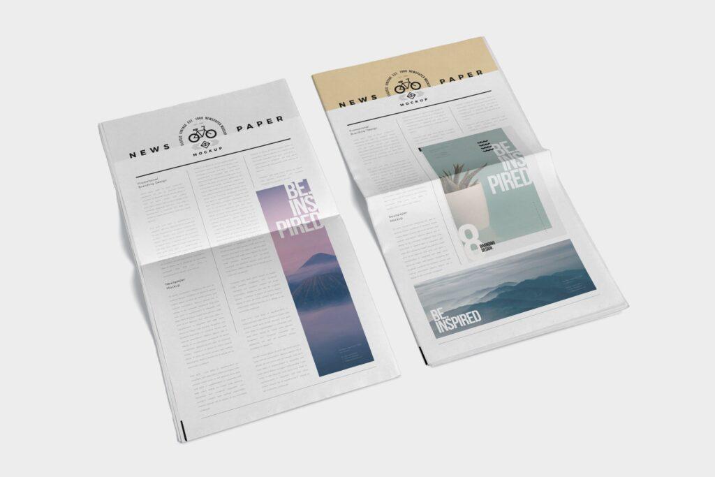 透视角度报纸期刊模型样机效果图Full Page Newspaper Mockups插图