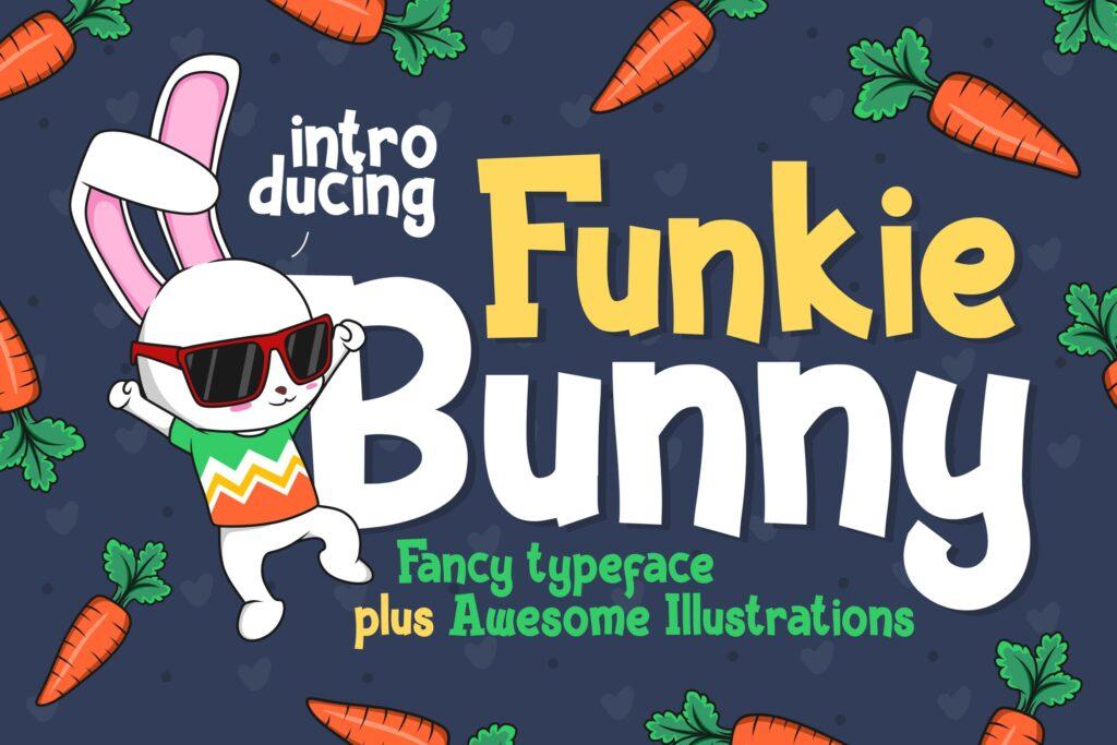 卡通无衬线手写英文字体下载Funkie Bunny Fancy Font (+EXTRA)插图