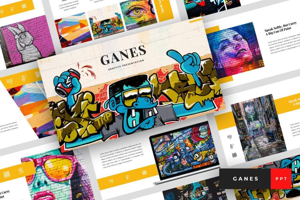 艺术绘画涂鸦主题演示PPT幻灯片模板Ganes Graffiti PowerPoint Template插图