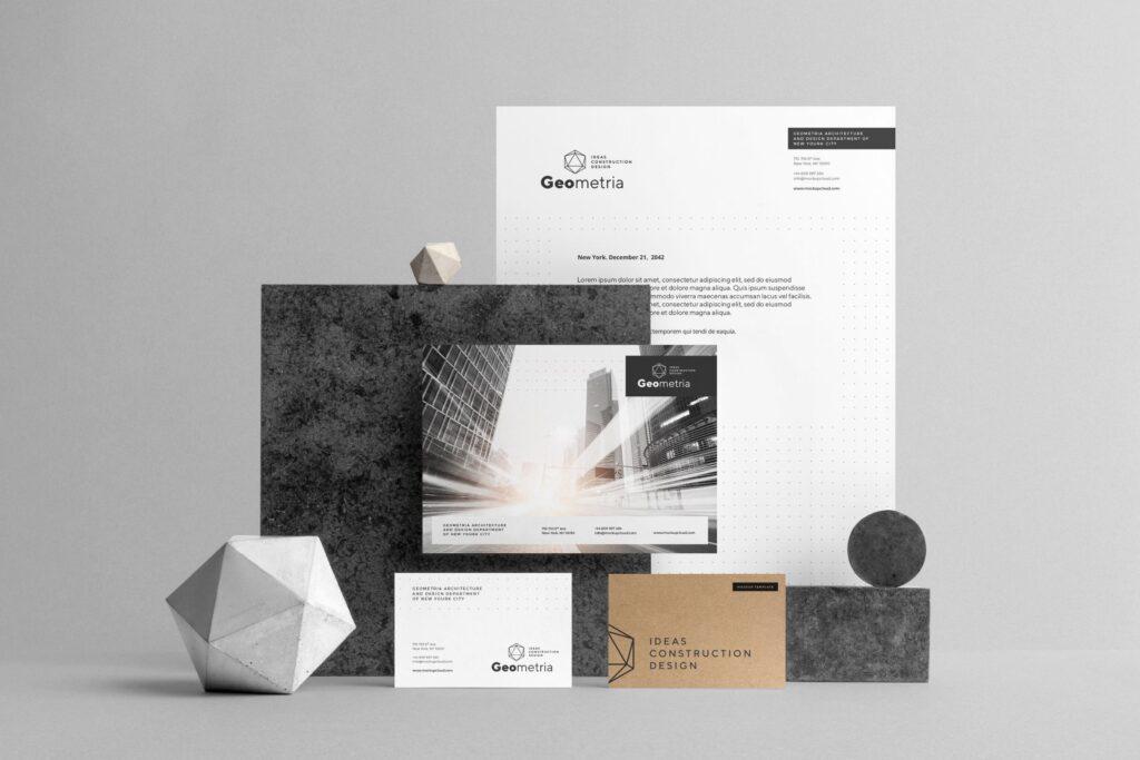 高端轻奢风房地产品牌VI模型样机效果图Geometria Branding Mockup Vol1插图