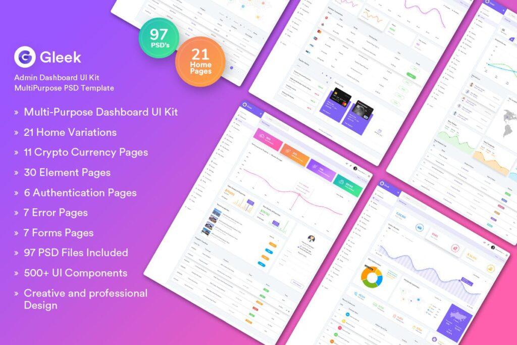 数字货币后台数据管理仪表板UI工具包多用途PSD模板Gleek Admin Dashboard UI Kit MultiPurpose PSD插图