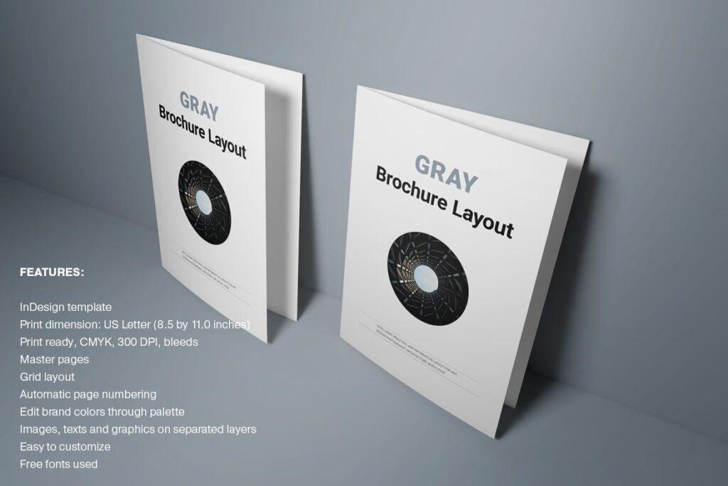 黑白经典艺术摄影画册杂志模板Gray Brochure插图
