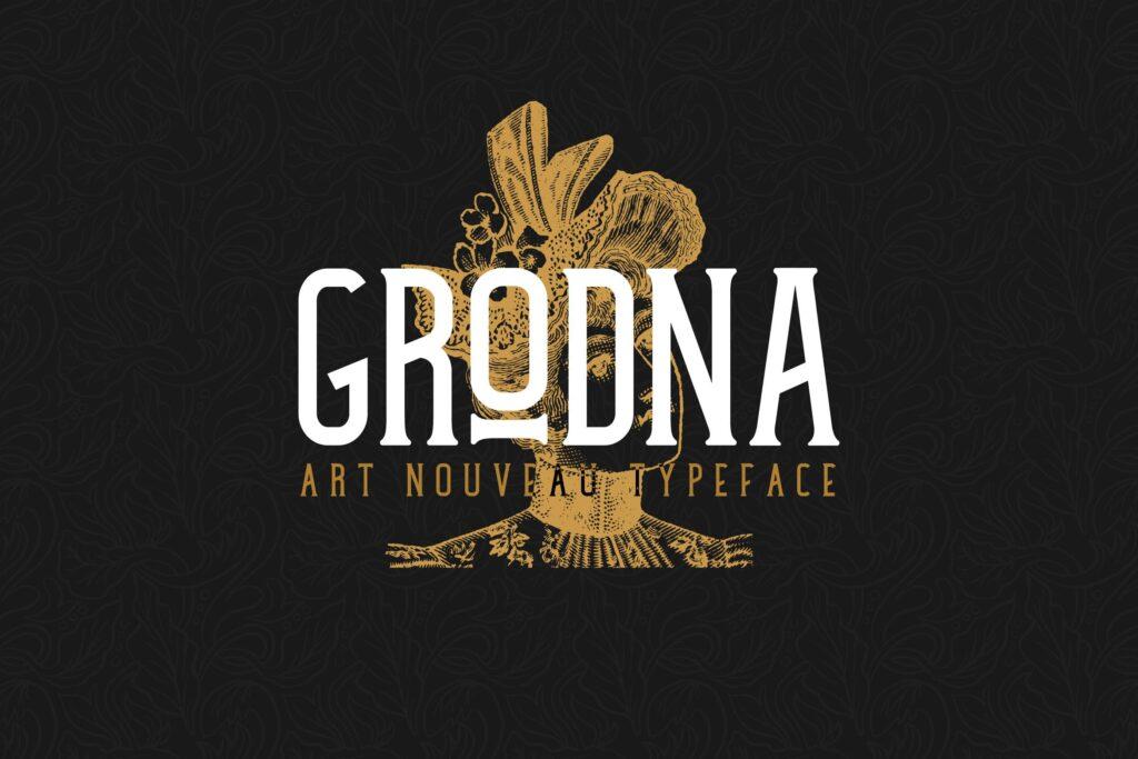 文艺优雅海报和店面招牌衬线英文字体下载Grodna Font插图