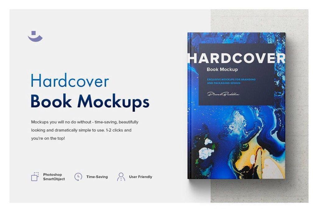 高端精装书样机模型展示效果图Hardcover Book Mockup Set A92gra插图