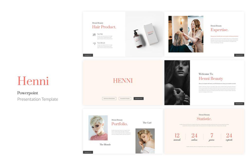 女性美容美发行业调研数据汇报宣讲PPT幻灯片模板Henni Beauty Salon Powerpoint Template插图