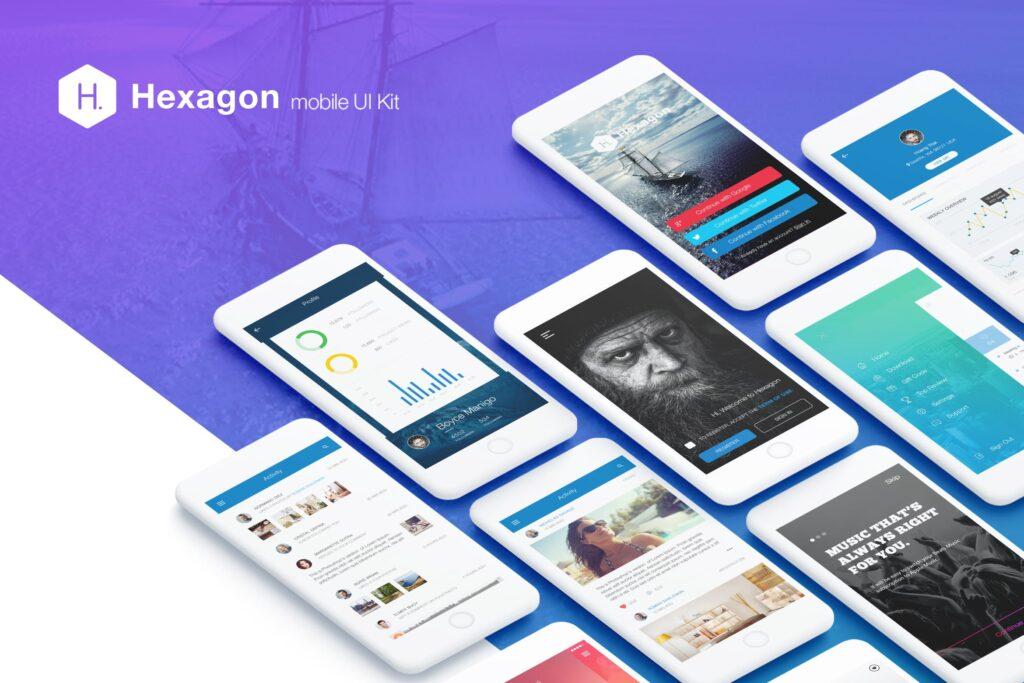 图片社交类应用UI组件模板素材Hexagon Mobile UI Kit插图
