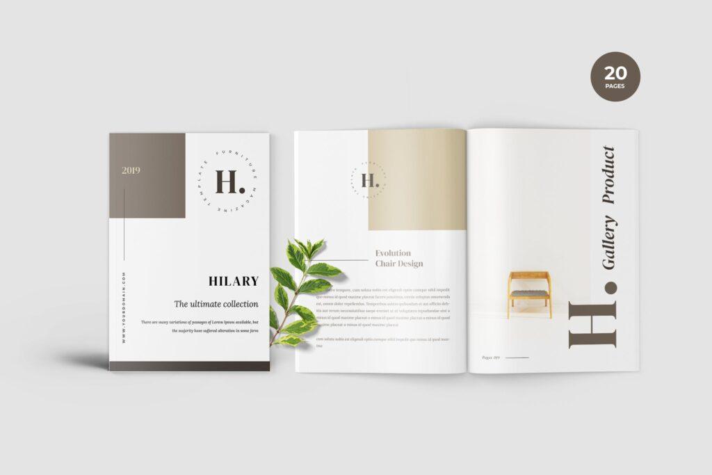 欧美家居/产品介绍画册杂志模版素材Hilary Furniture Magazine Template插图