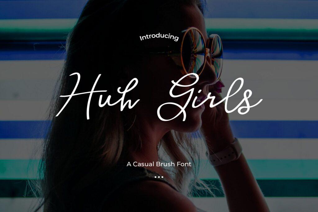 婚礼邀请函文艺优雅英文字体Huh Girls Casual brush font插图