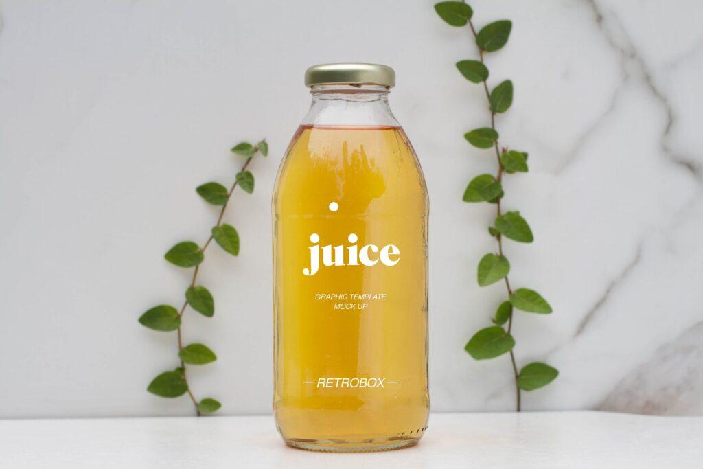 果汁玻璃瓶效果样机模型下载Juice Bottle Mock Up插图