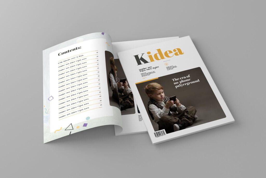 关爱儿童教育/公益事业宣传画册模板Kidea Magazine Template插图