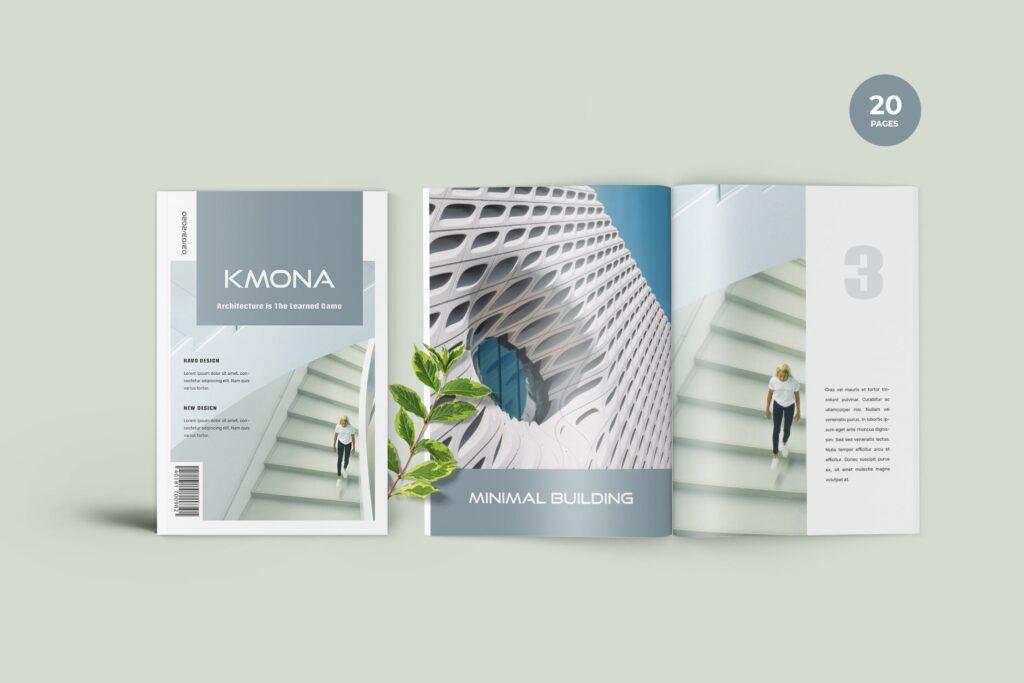 经典建筑设计类主题画册杂志模版Kmona Furniture Magazine Template插图
