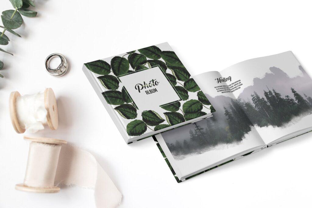 自然精装书籍封面样机模型效果图下载Leaves Photo book NJAGK2插图