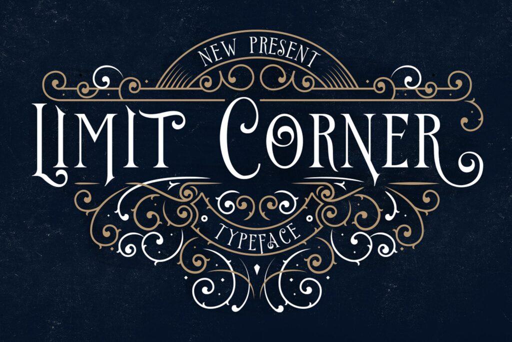 维多利亚风格和古典风格/红酒包装装饰字体Limit Corner Typeface插图