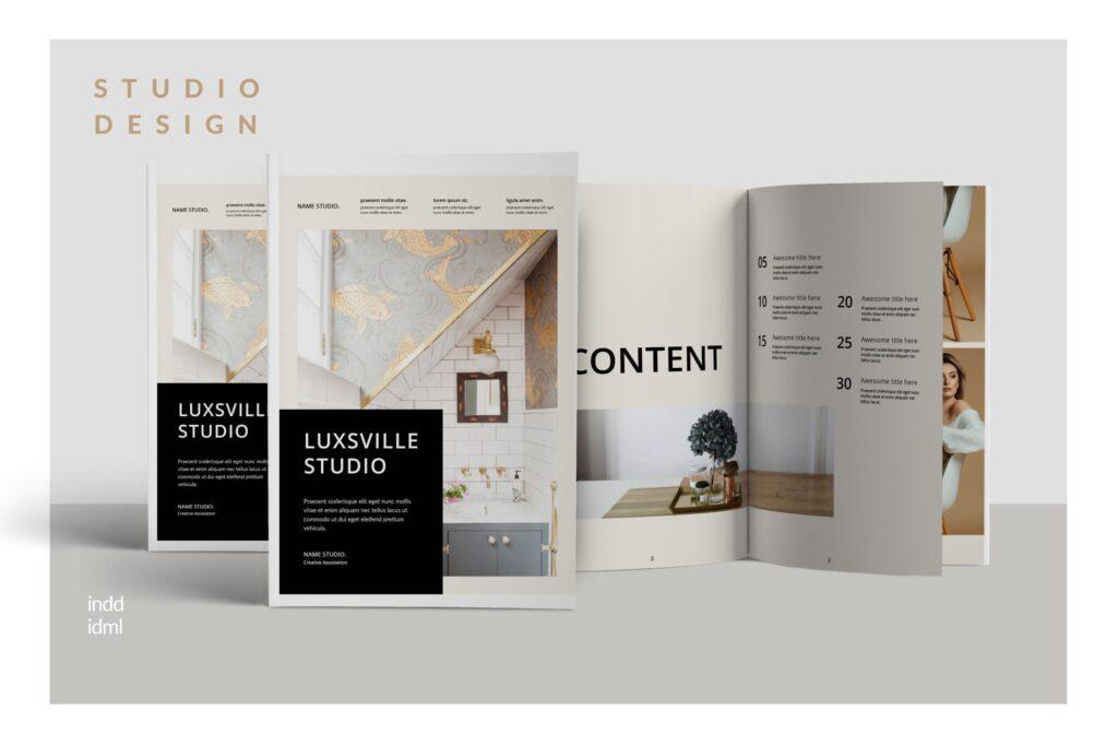 室内设计案例介绍/企业创意产品画册模板Luxville Fashion Magazine插图