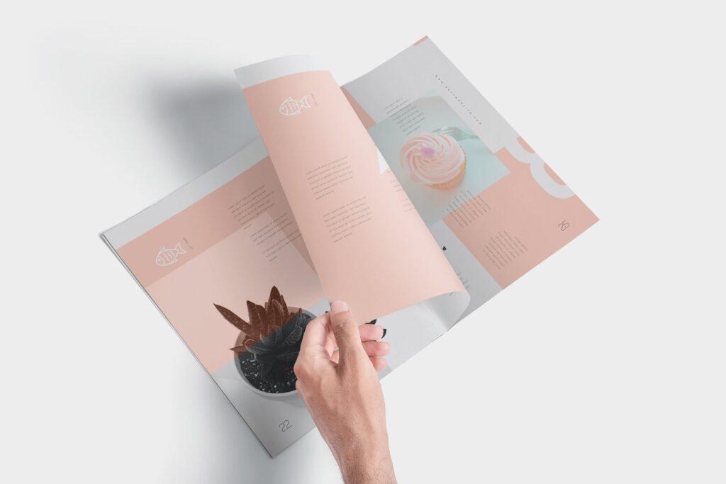 文艺透视角度精致文艺画册样机Magazine Mockups QU4D83K插图