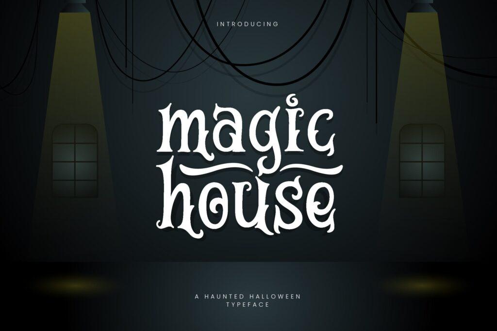 万圣节海报手写英文衬线字体下载Magic House Haunted Halloween Typeface插图