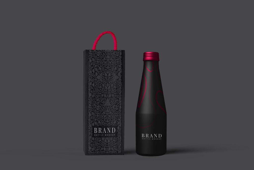 黑色金属瓶包装PSD样机模型效果图Metal Bottle Package Mockup插图