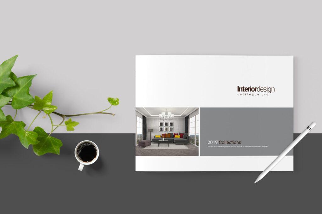 横版室内设计小册子/目录画册模板Minimal Interior Brochure插图