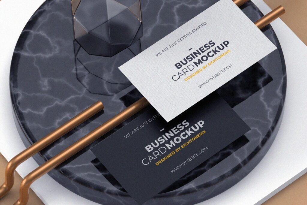 现代风格名片模型样机下载Modern Experimental Business Card MockUp插图