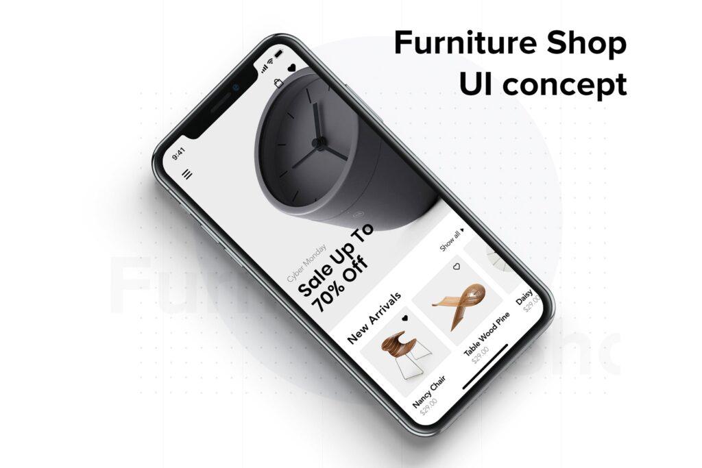 互联网家居工业产品行业网站素材模板Modern Furniture Mobile App UI Kit插图
