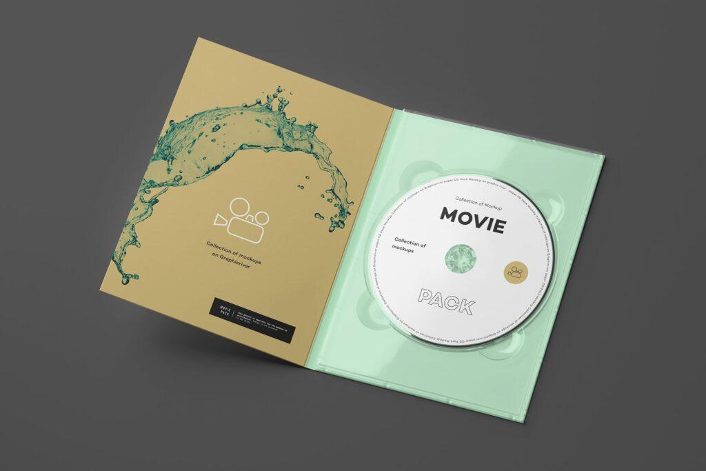 古典电影CD光盘包装/古典音乐唱片模型样机素材模型1Movie Pack Mockup 1插图