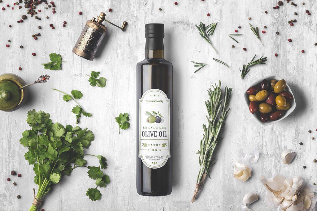 橄榄油瓶包装和香料模型样机素材下载Oil Bottle and Spices Packaging Mockup插图