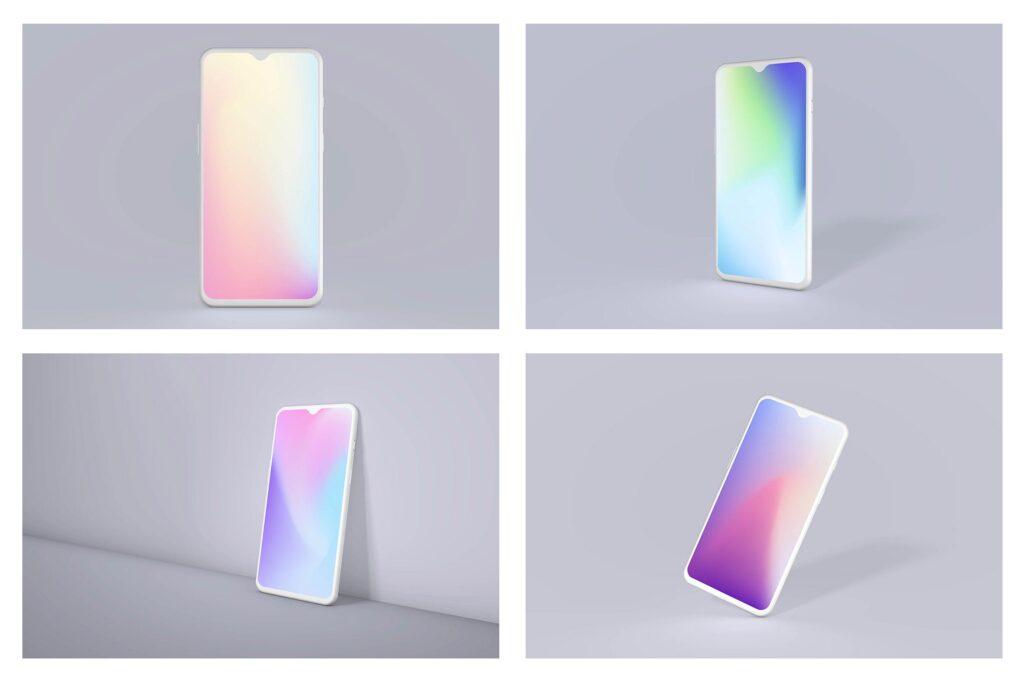 一加手机多种透视角度样机模型效果图下载OnePlus 7 Clay Android Mockup Bundle插图