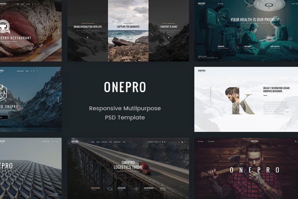 多行业多用途企业网页/博客/电子商务网站素材模版OnePro Creative Multipurpose PSD Template插图