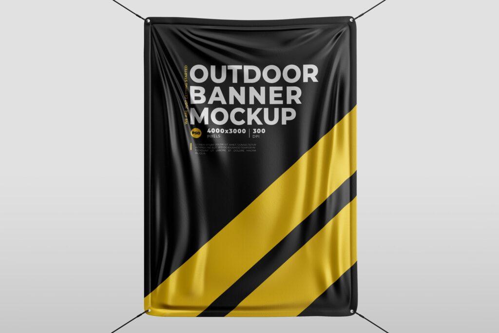 户外大横幅广告模型样机效果图Outdoor Banner MockUp插图