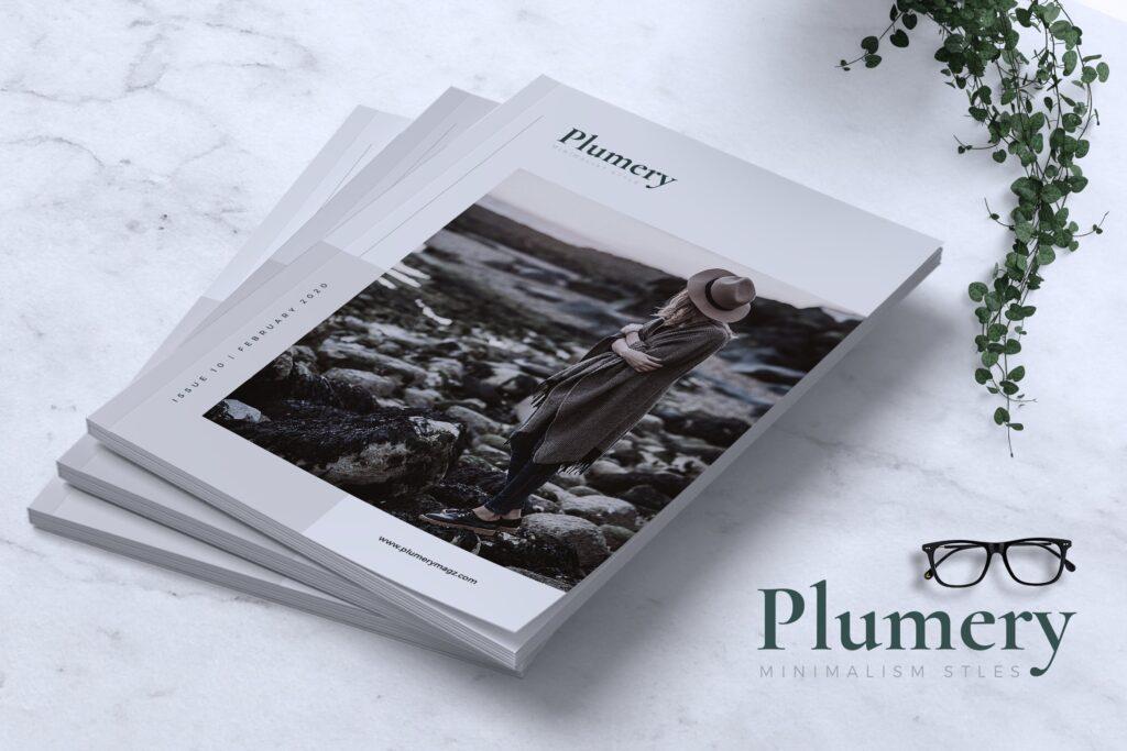 简约企业商务小册子目录/多用途画册模板PLUMERY Minimal Magazines插图