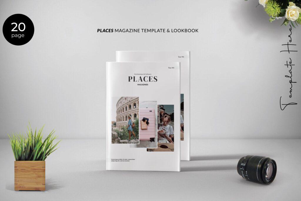 旅游简约和中性的杂志设计画册模版Place Magazine Template Lookbook插图