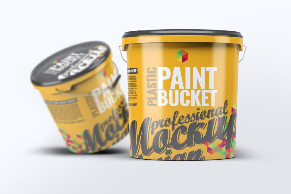 塑料油漆桶/街头艺术喷绘样机模型素材下载Plastic Paint Bucket Mock Up插图
