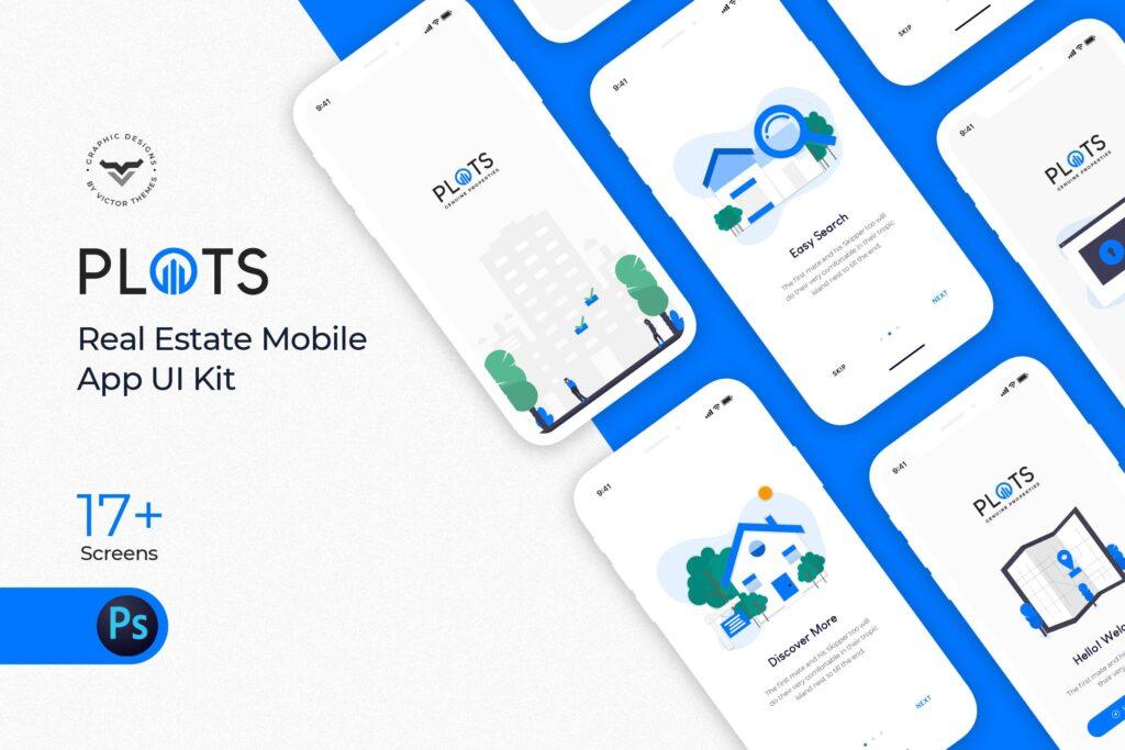 出行行业简约UI组件模板素材下载Plots Real Estate Mobile App UI Kit插图