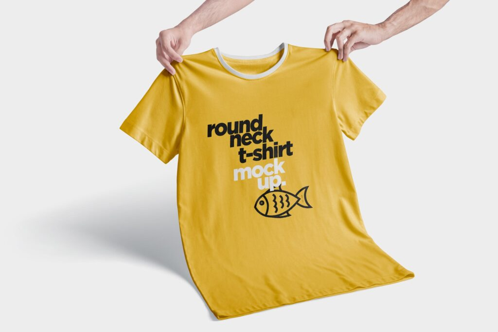 企业文化衫/圆领t恤模型/大型会议文化衫样机效果图RoundNeck T Shirt Mockups插图