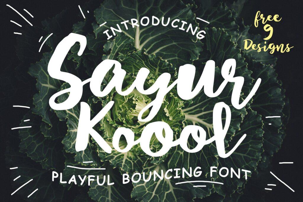 服装品牌装饰毛笔手写英文字体下载Sayur Koool and Bonus插图