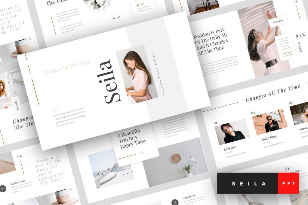 时尚行业企业销售数据汇报ppt幻灯片模板Seila Fashion PowerPoint Template插图