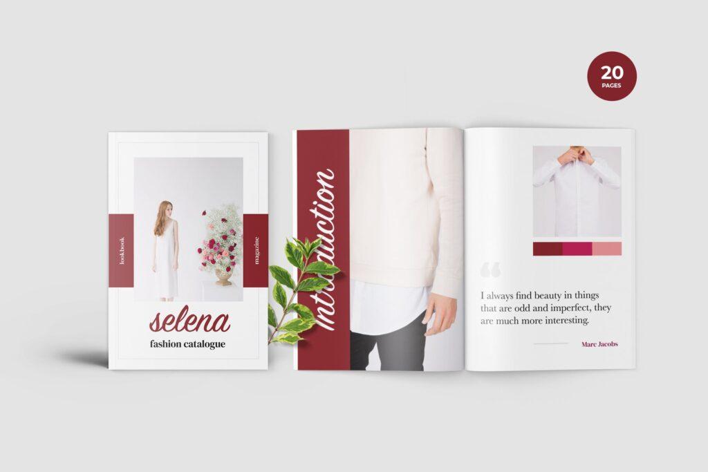 多用途企业简介模版素材画册展示样机Selena Fashion Lookbook Magazine插图
