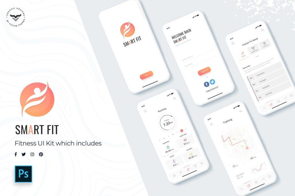 智能手表运动记步移动应用程序模板素材UI组件模板Smart Fit Mobile App UI Kit插图