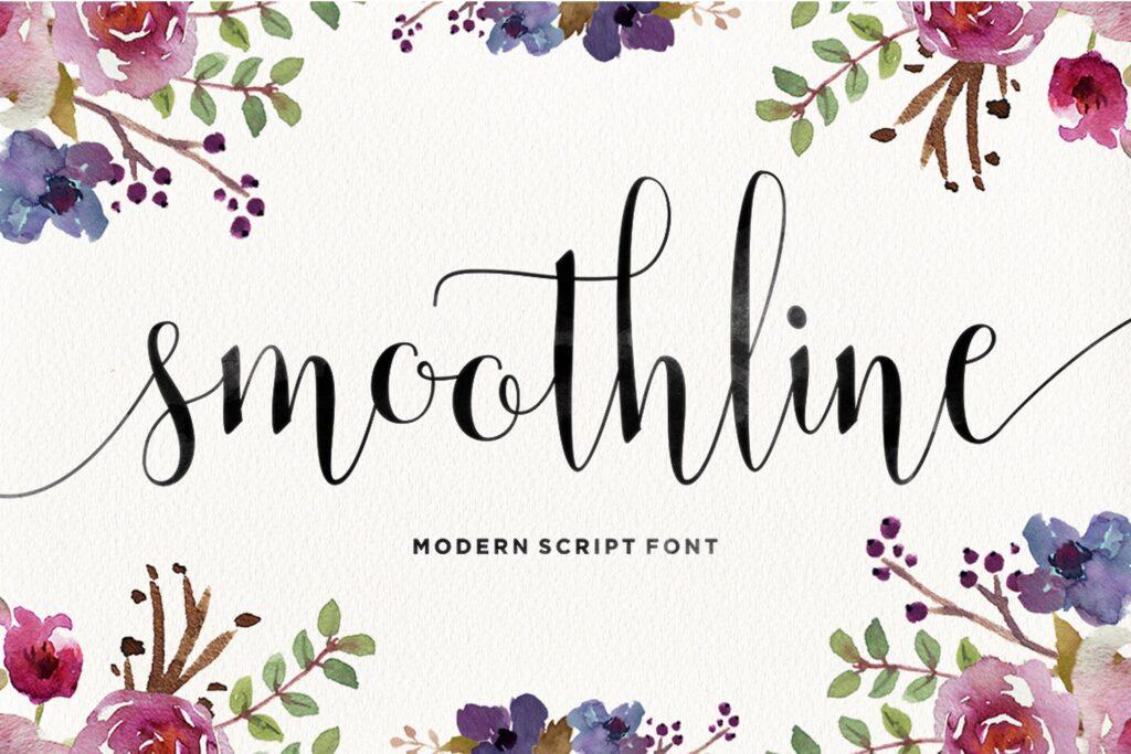 线条流畅现代书法手写字体/婚礼邀请函请柬手写字体Smoothline Script插图